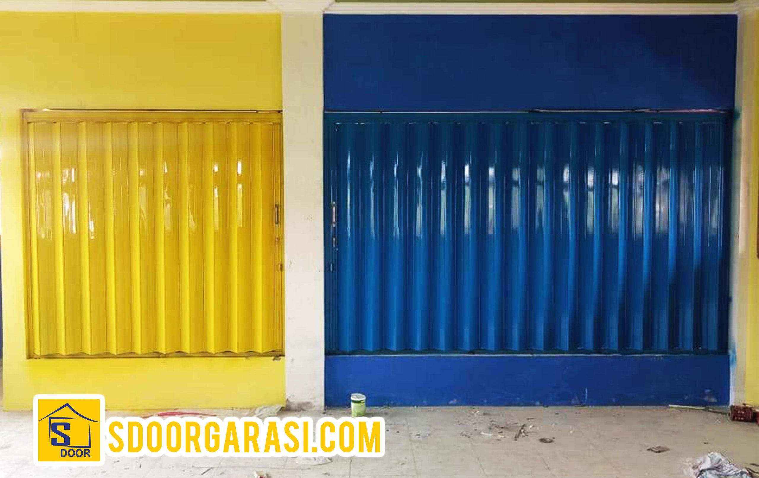 Jasa pintu Harmonika Sidoarjo dan surabaya request warna biru dan kuning